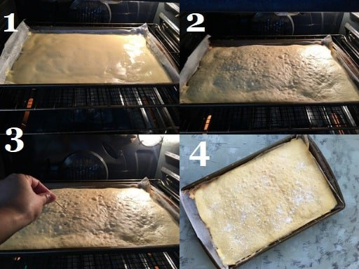 Baking the Italian sponge cake in the oven