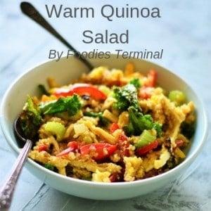 A bowl of warm quinoa salad