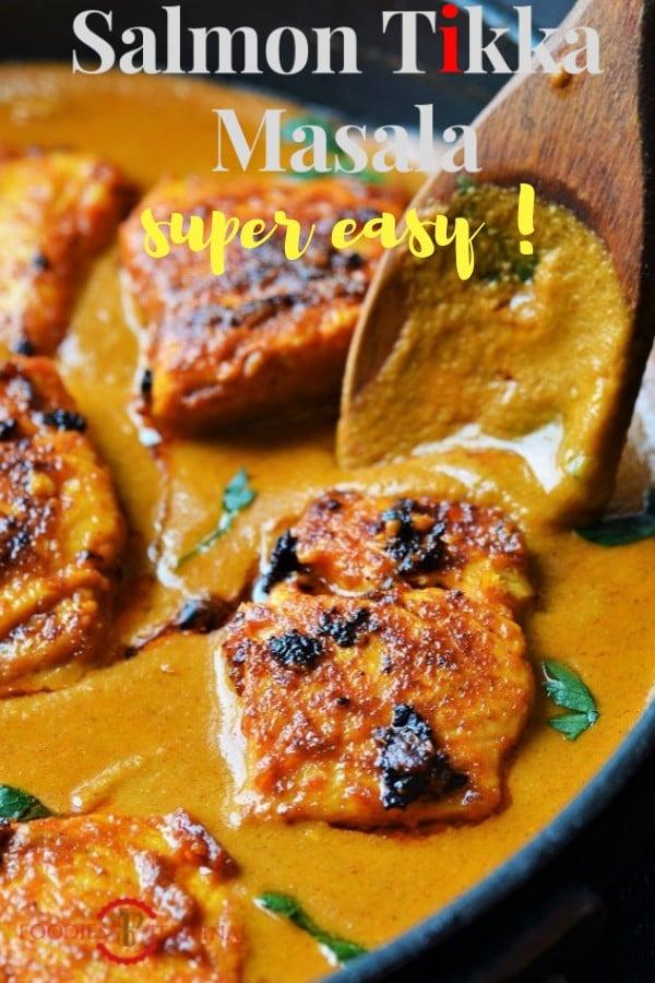 Salmon Tikka masala being served