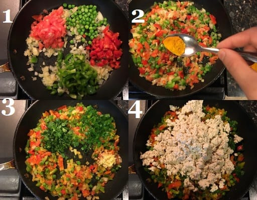 Tofu scramble being cooked in a skillet