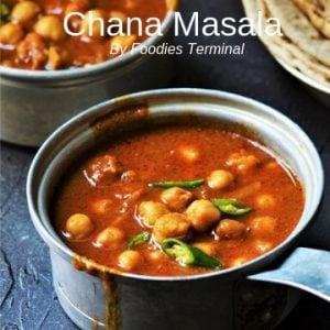 Chana Msala recipe for chapathi served a small saucepan