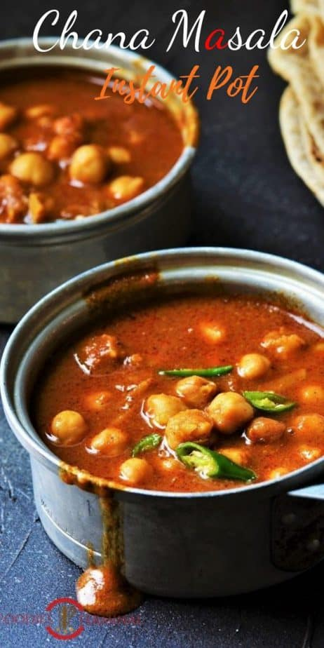 Punjabi chana masala made in Instant pot with canned beans served in tiny pots