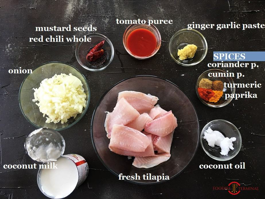 Instant Pot Tilapia Fish curry list of ingredients in glass bowls on a black background