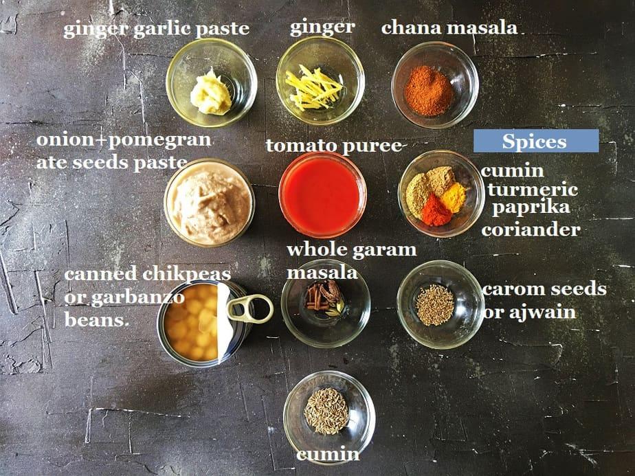 Instant Pot Punjabi Chana Masala ingredients