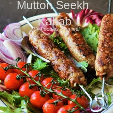 Mutton Seekh Kabab recipe served with salad