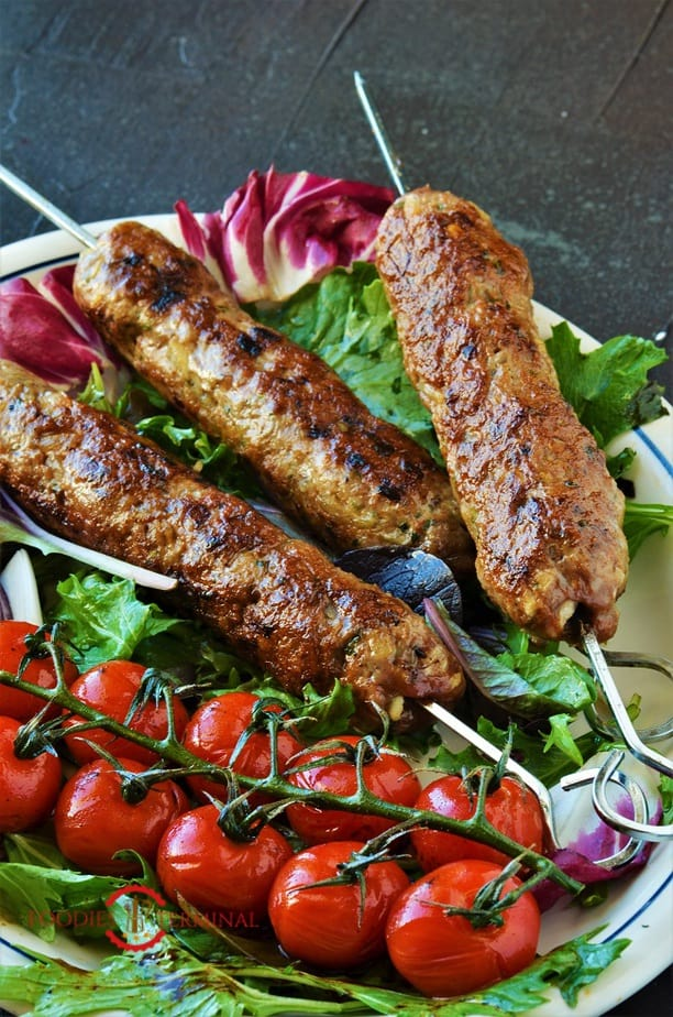 Mutton seekh kabab recipe served on salad leaves