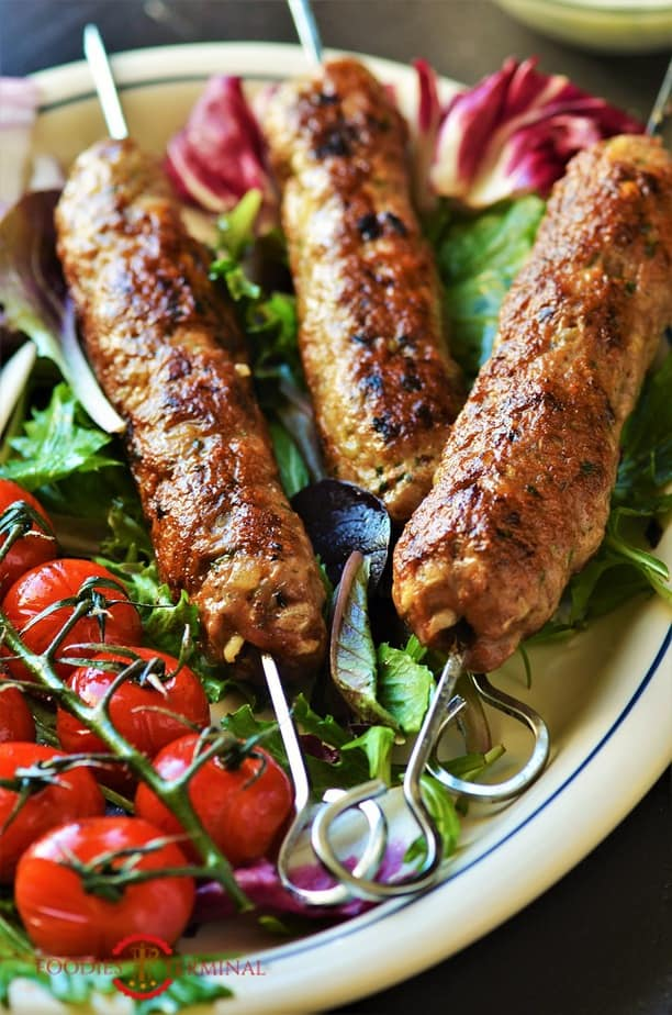 Mutton Seekh Kabab served with salad