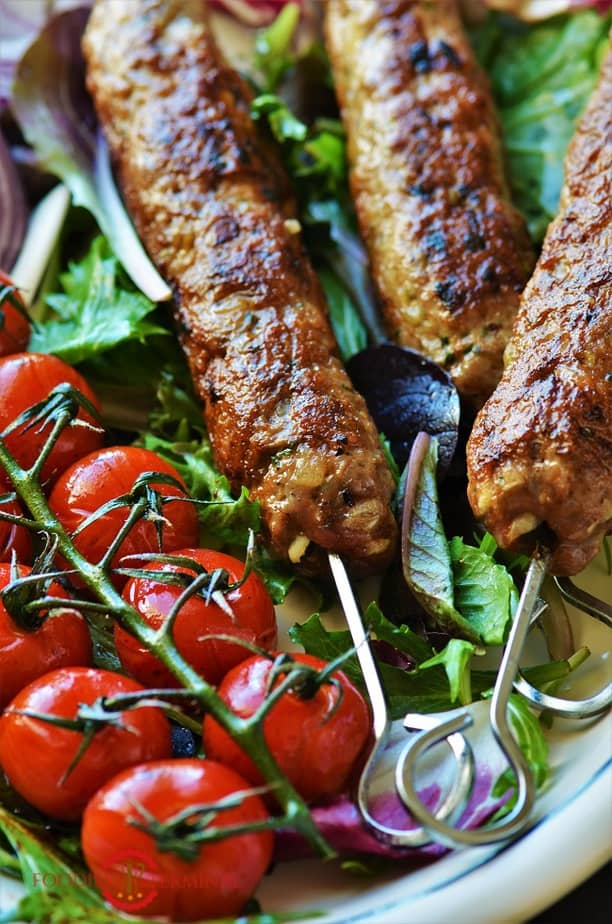 Mutton seekh kabab recipe with small tomatoes
