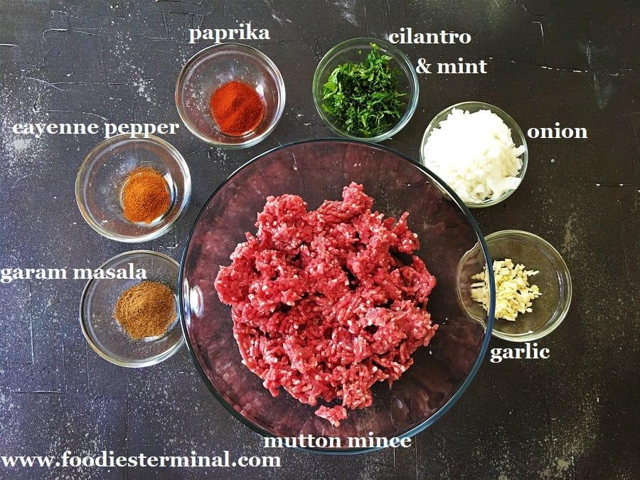 Mutton seekh kabab recipe ingredients