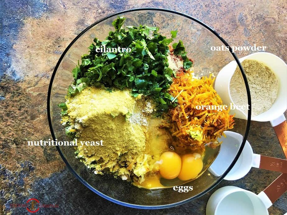 Quinoa Paneer cutlets ingredients in a transparent bowl