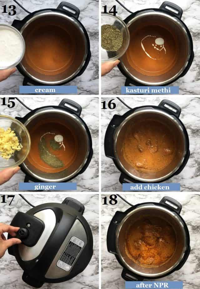 Steps showing how to pressure cook the roasted chicken in the sauce in an Instant Pot
