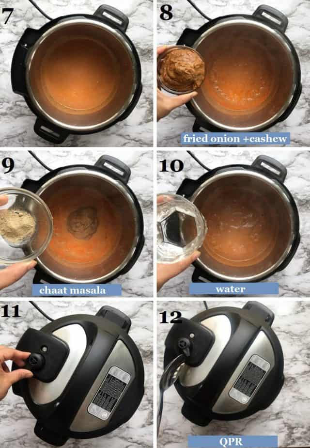 Steps showing how to pressure cook the chicken changezi delhi style sauce in Instant pot