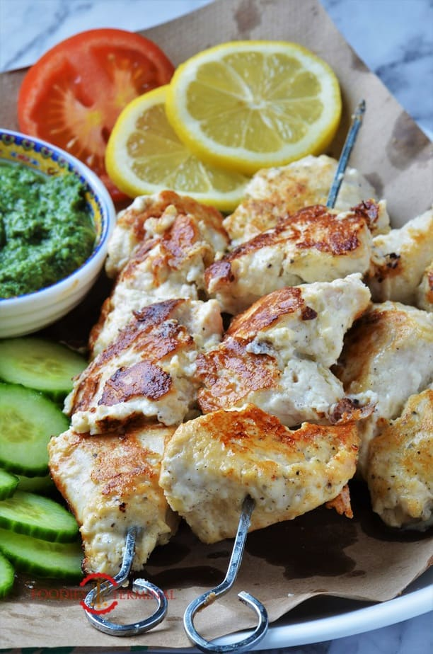 chicken reshmi kabab recipe served with salad & chutney