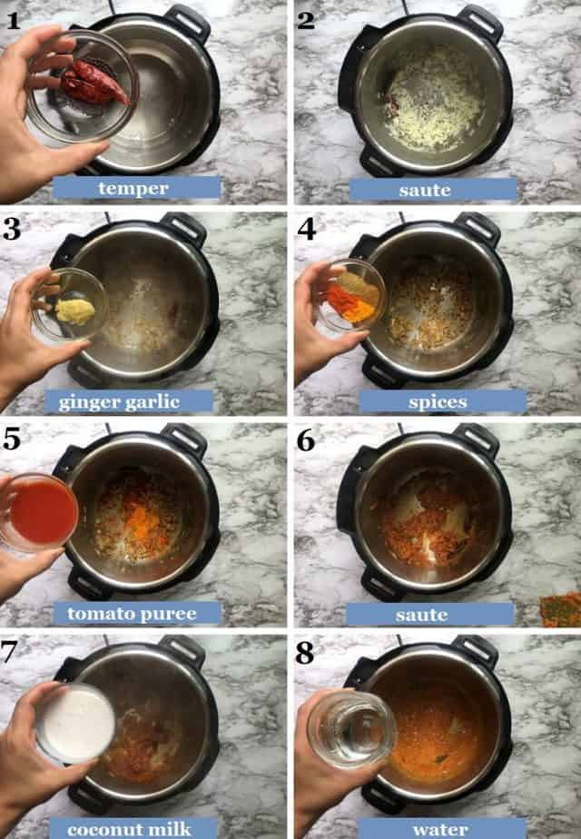 step by step method of making the tilapia curry sauce in the Instant pot