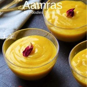Aamras served in transparent bowls