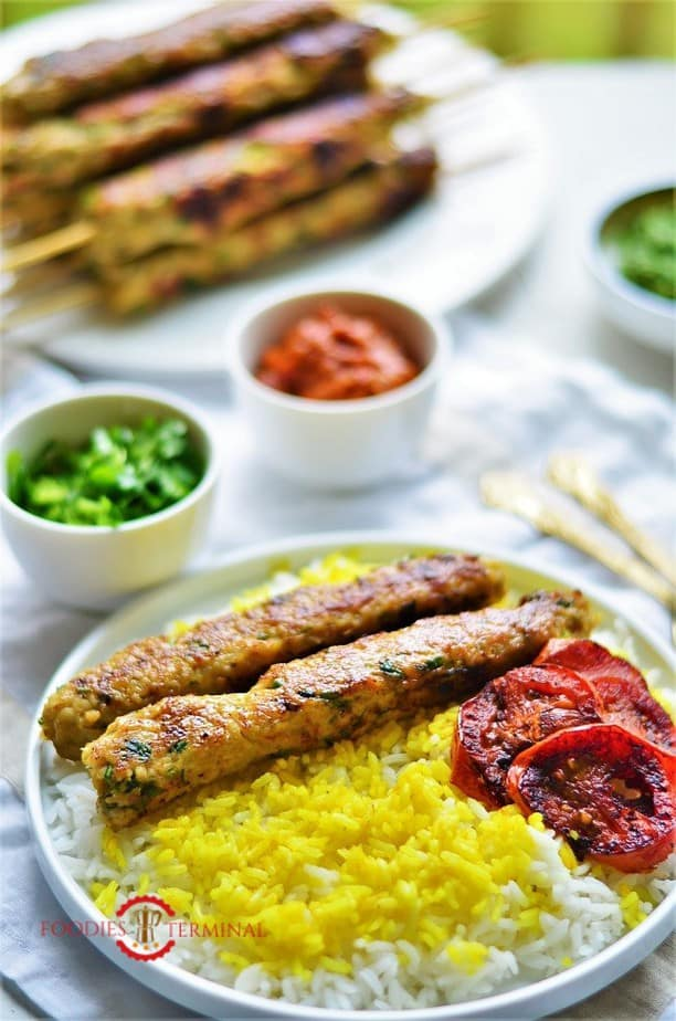 chicken seekh kabab served with rice & roasted tomato wedges