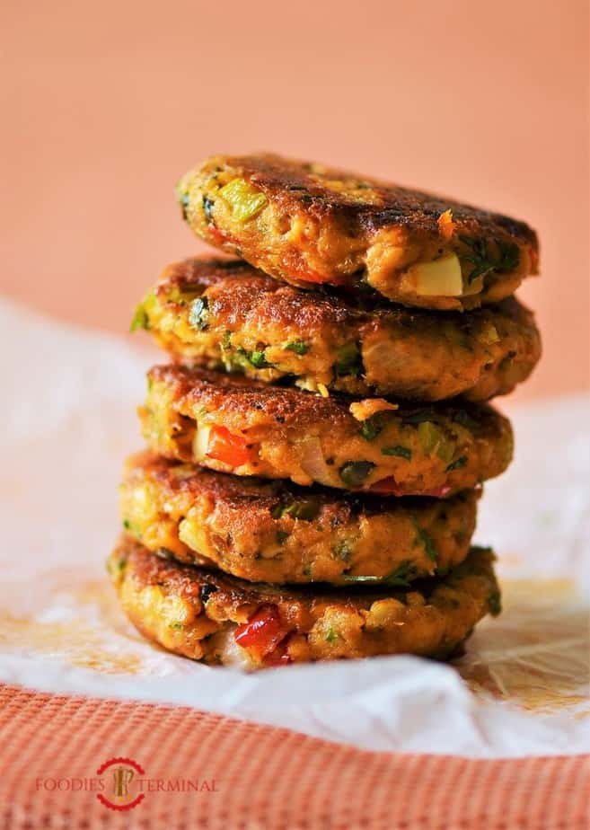 Old fashioned salmon patties in a small stack