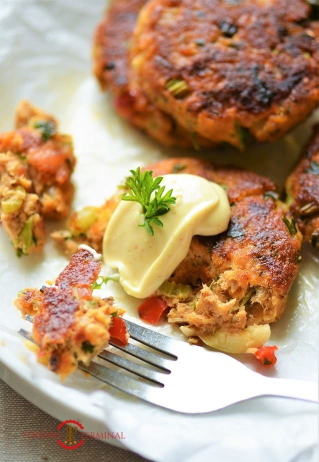 Salmon Patties using canned salmon with a dollop of dip
