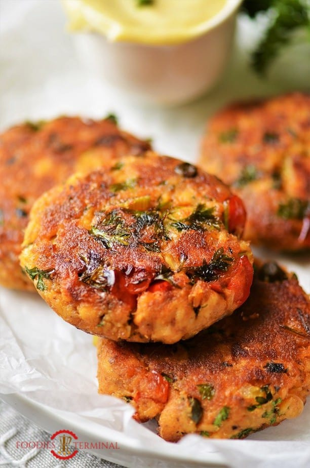 Salmon Patties with canned salmon kept on top of another