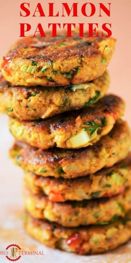 Healthy Salmon Patties without eggs stacked on top of the other