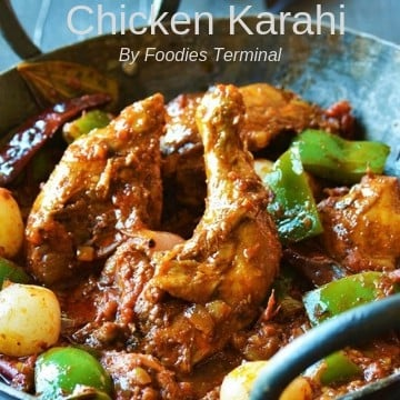 Chicken Karahi dhaba style with capsicum & pearl onions