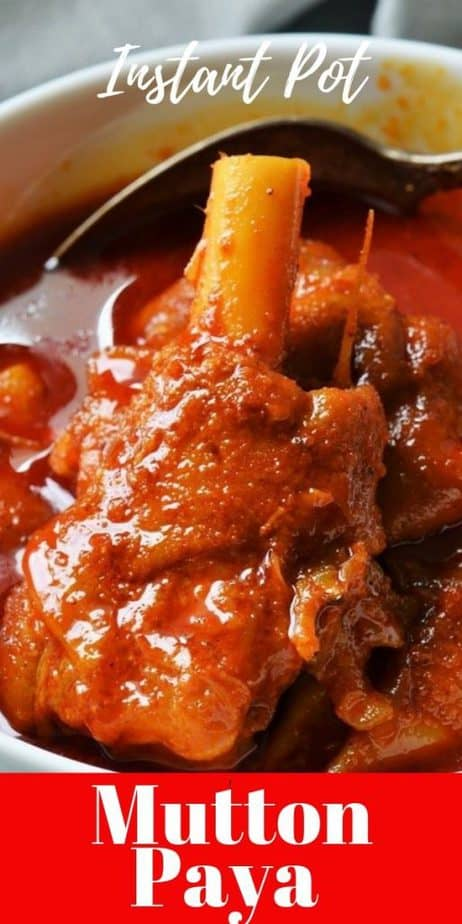 Instant pot mutton paya cooked with goat trotters