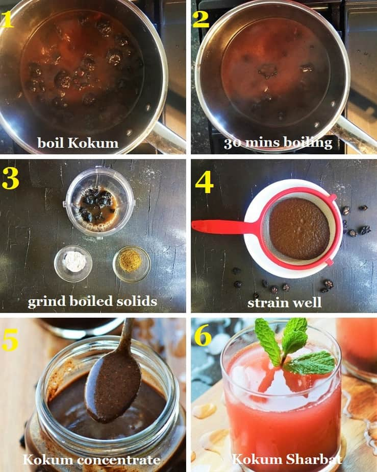 How to make Kokum Sharbat at home from dry kokum step by step pictures