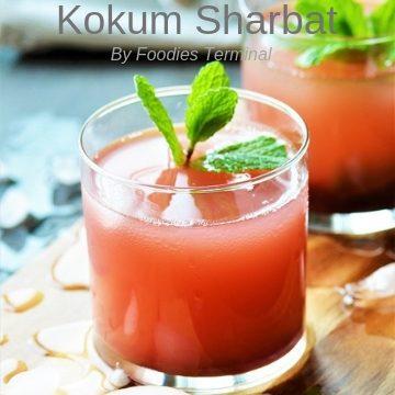 Kokum Sharbat served in a transparent glass
