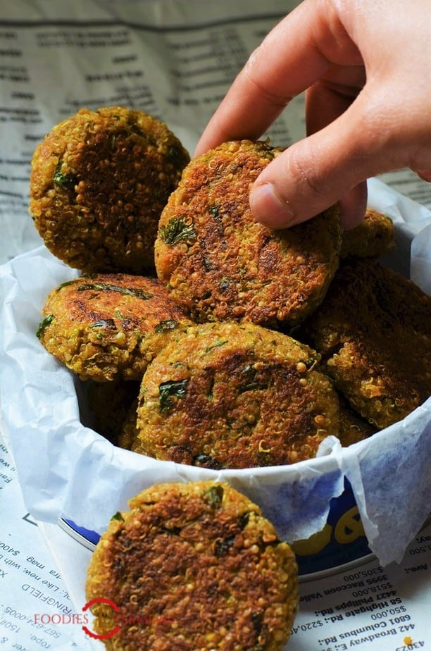 Quinoa Cutlets Indian style kept together in a box