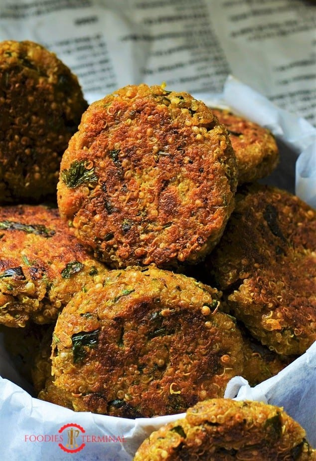 Crispy Quinoa Cutlets stacked together