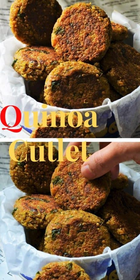 Quinoa Paneer patties clustered in a tiny blue box