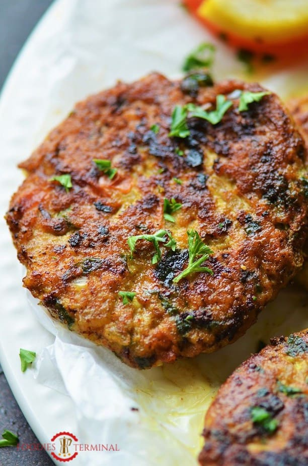 Chapli Kabab with chicken mince a close up shot
