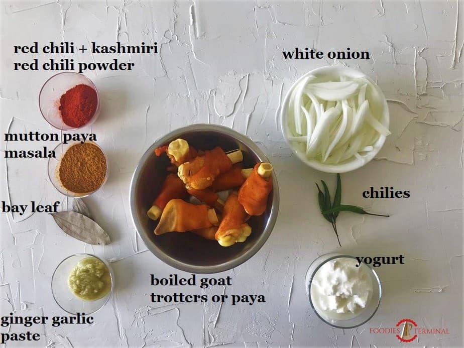 Ingredients for Mutton Paya