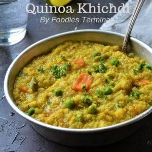 Instant Pot Quinoa Khichdi in a metal plate