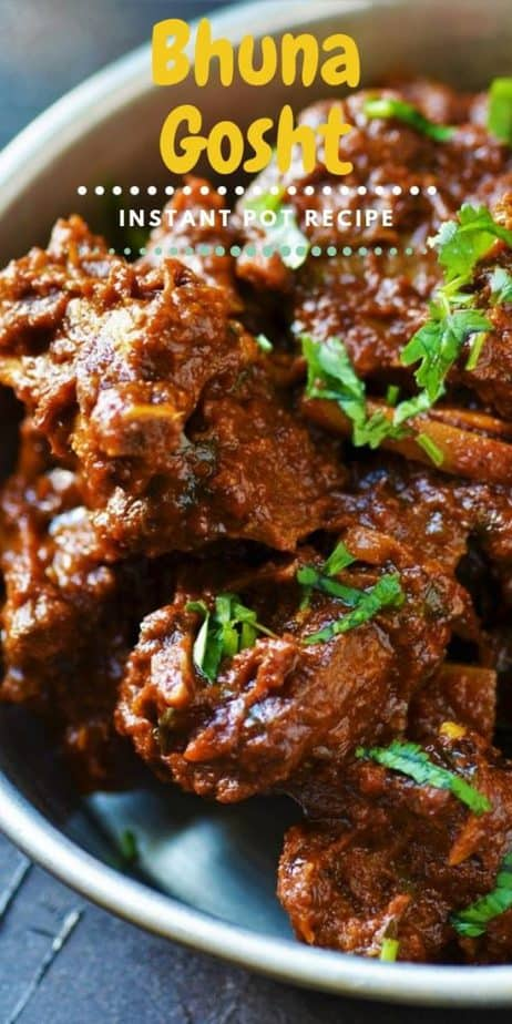 Indian Bhuna Gosht cooked with tender goat topped with cilantro