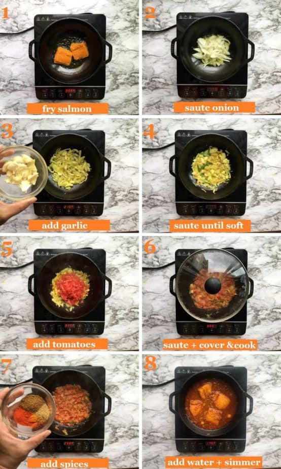 How to cook Salmon curry Indian style step by step with pictures