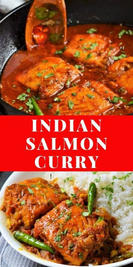 Indian Salmon curry with wild caught salmon picture collage