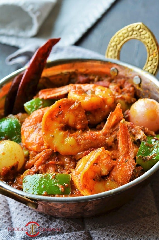 Kadai Prawns with green capsicums & pearl onion in a small Kadai