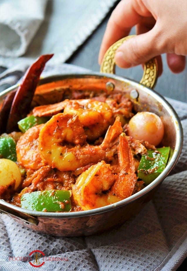 Prawn Karahi in a copper Karahi with brass handles