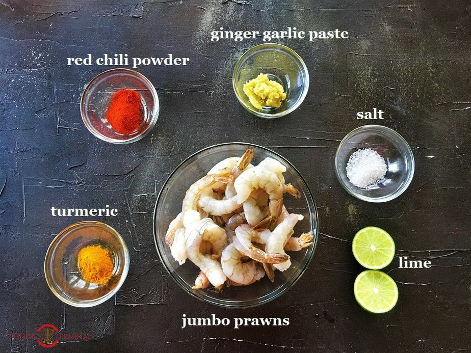 Ingredients for flash marinating the Jumbo prawns