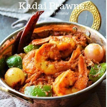 Kadai Prawns served in a small kadai