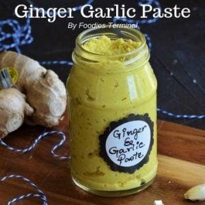 Homemade ginger garlic paste in a transparent glass jar