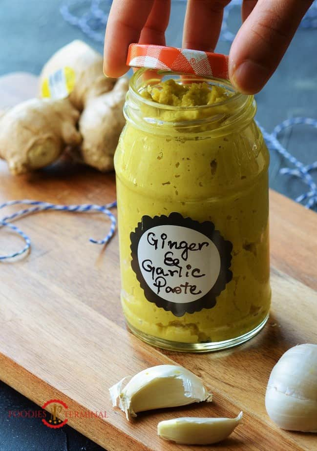 Ginger Garlic Paste Recipe in a glass container with a lid
