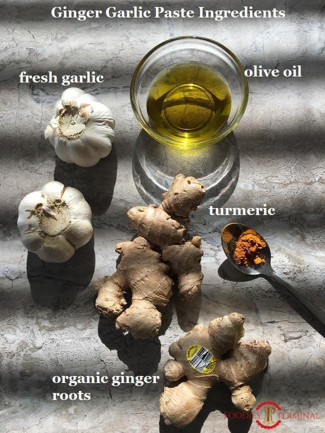 Ginger Garlic Paste Recipe ingredients on a grey surface