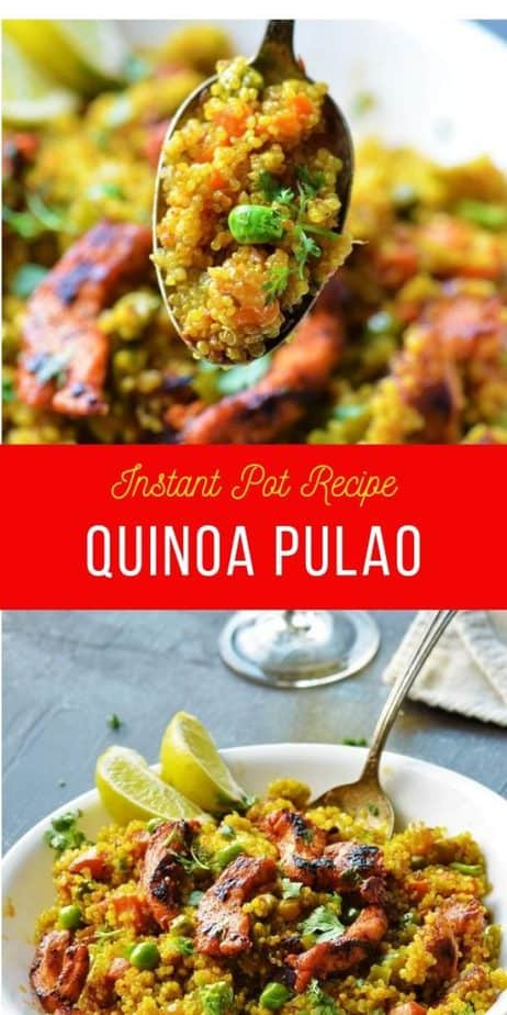 Quinoa Pulao pictures collage with two photos
