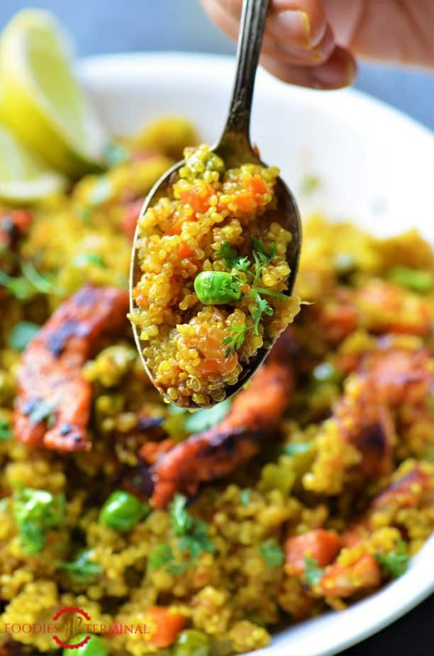 Instant Pot Quinoa Pulao spooned out