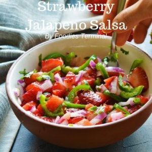 Colorful Salsa made with strawberries, jalapeno, cilantro