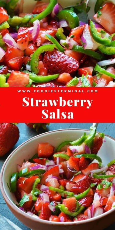 spicy strawberry salsa picture collage