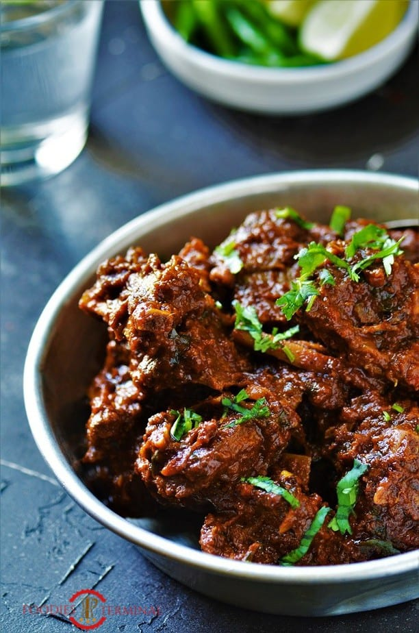 Bhuna Gosht recipe in an aluminum plate