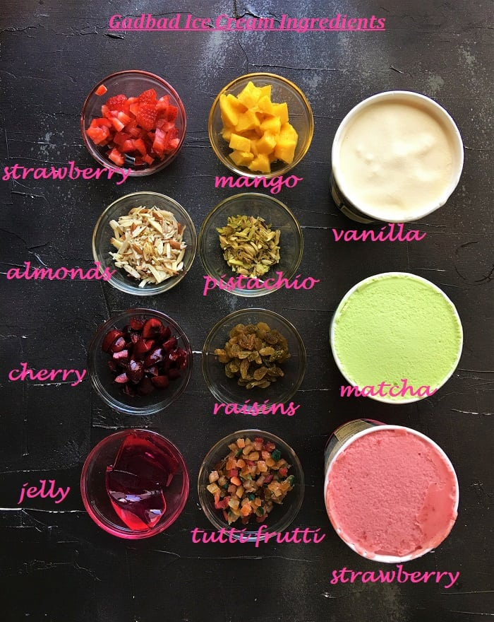 Gadbad Ice Cream recipe Ingredients in bowls